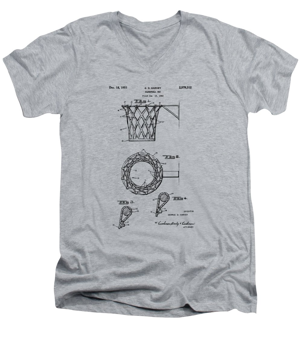 Basketball Men's V-Neck T-Shirt featuring the digital art 1951 Basketball Net Patent Artwork - Vintage by Nikki Marie Smith