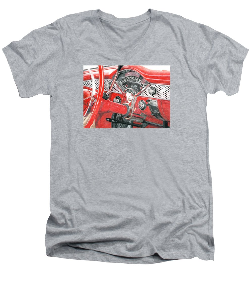Classic Men's V-Neck T-Shirt featuring the drawing 1955 Chevrolet Bel Air by Rob De Vries