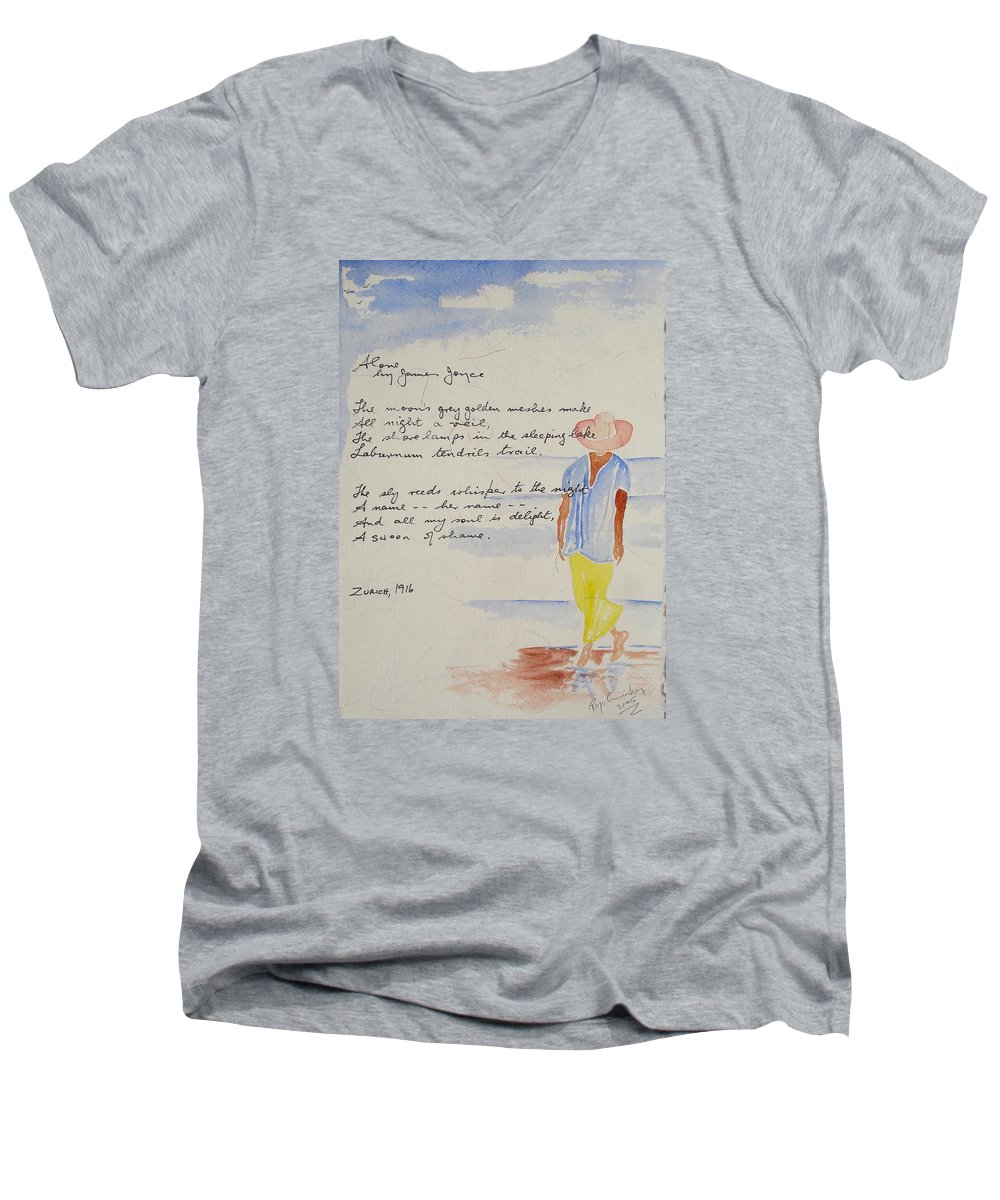 Love Heart Valentines Men's V-Neck T-Shirt featuring the painting Alone by Roger Cummiskey