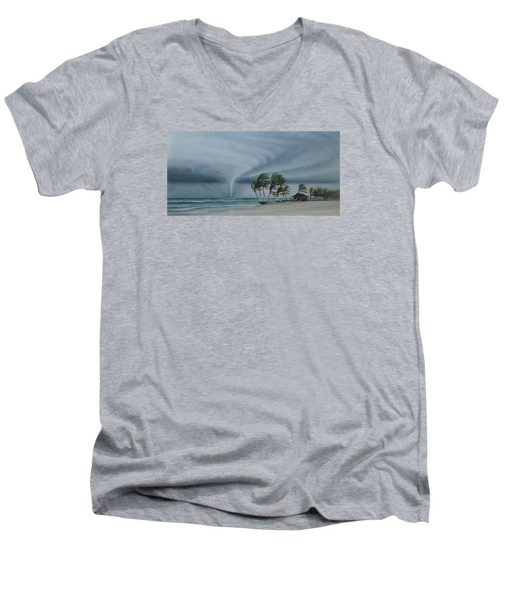 Men's V-Neck T-Shirt featuring the painting Mahahual by Angel Ortiz