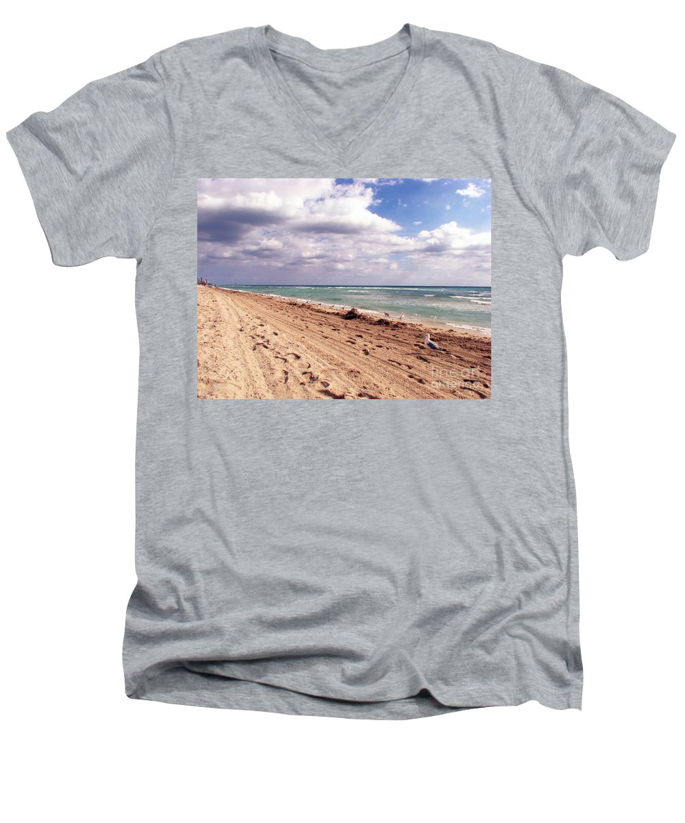 Beaches Men's V-Neck T-Shirt featuring the photograph Miami Beach by Amanda Barcon