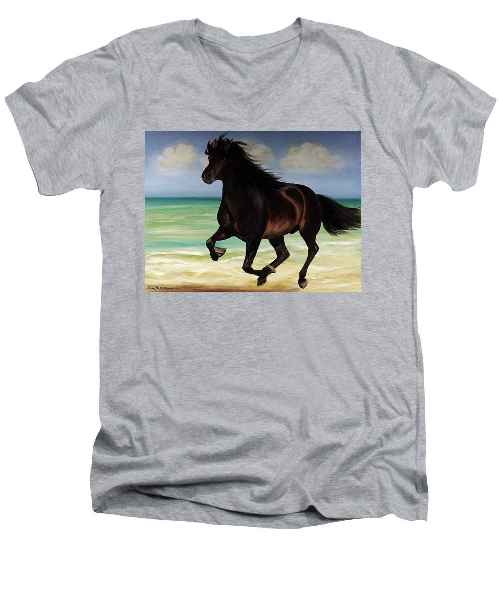 Horse Men's V-Neck T-Shirt featuring the painting Horses In Paradise Run by Gina De Gorna