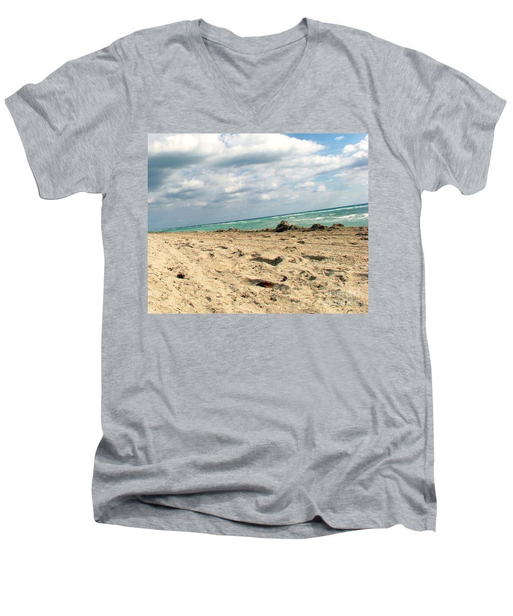 Miami Men's V-Neck T-Shirt featuring the photograph Miami Beach by Amanda Barcon