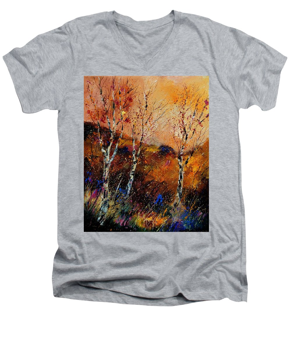 River Men's V-Neck T-Shirt featuring the painting 3 Poplars by Pol Ledent