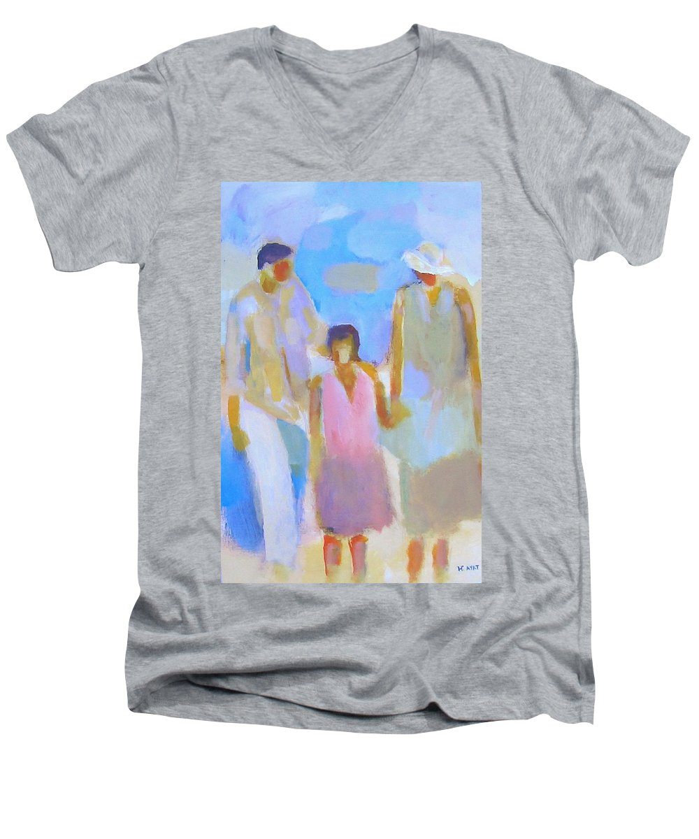 Abstract Men's V-Neck T-Shirt featuring the painting 3 With Love by Habib Ayat