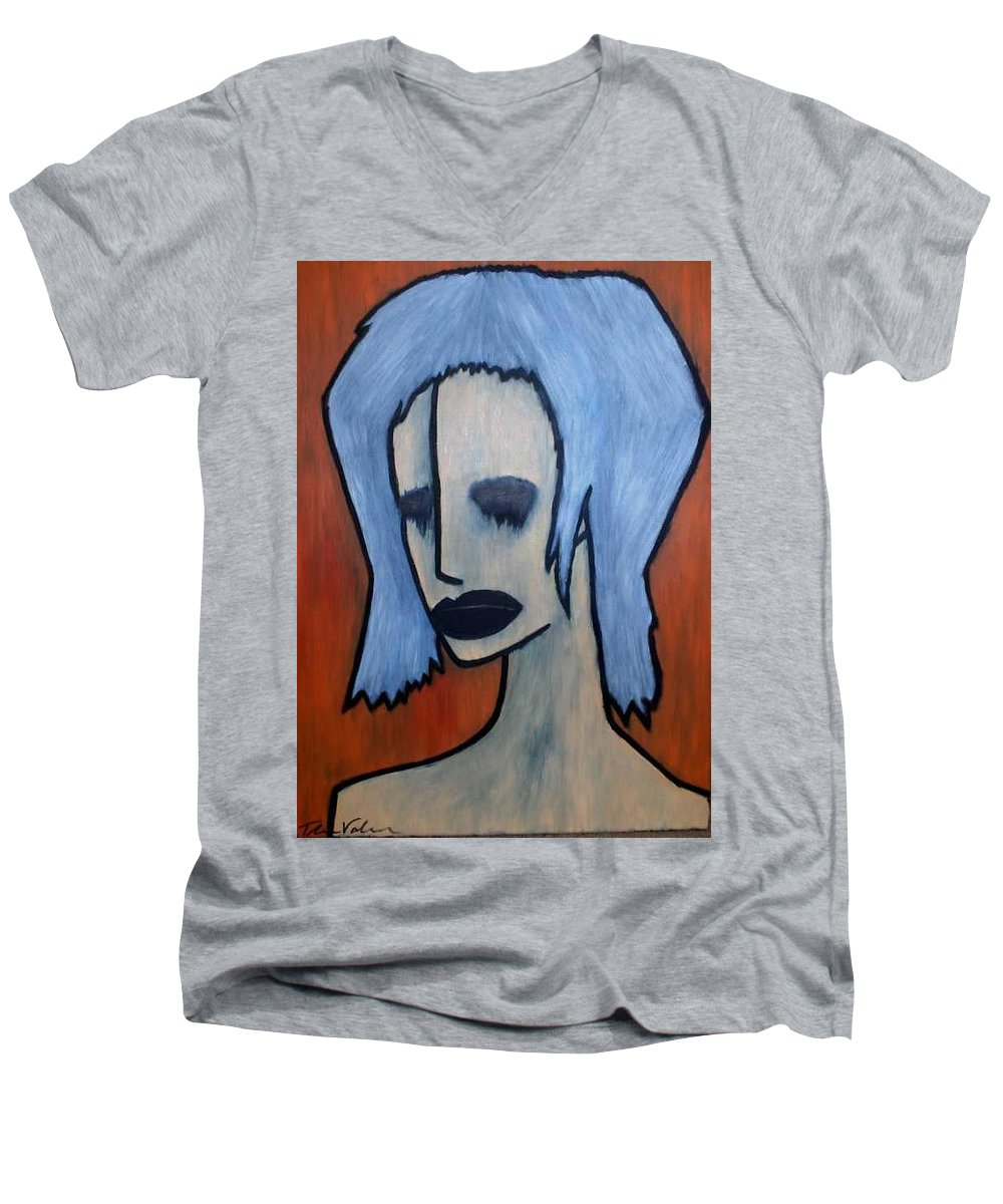 Potrait Men's V-Neck T-Shirt featuring the painting Halloween by Thomas Valentine