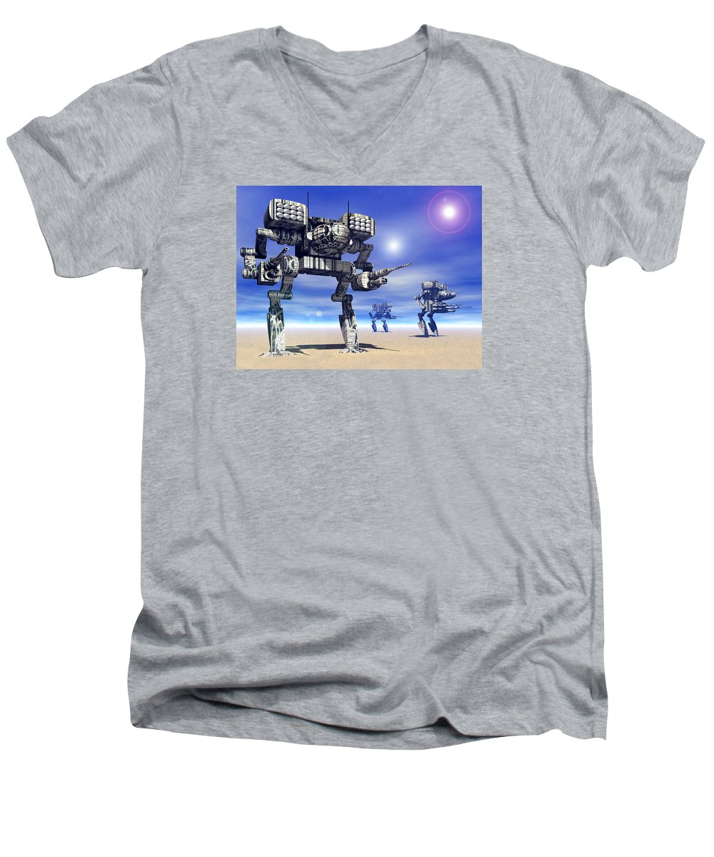 Science Fiction Men's V-Neck T-Shirt featuring the digital art 501st Mech Trinary by Curtiss Shaffer