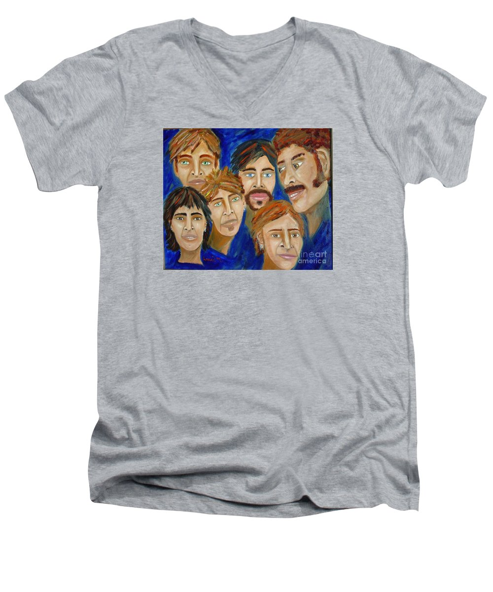 Portrait Men's V-Neck T-Shirt featuring the painting 70s Band Reunion by Laurie Morgan
