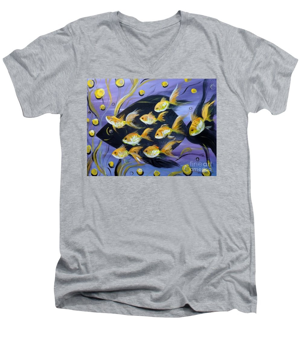 Fish Men's V-Neck T-Shirt featuring the painting 8 Gold Fish by Gina De Gorna
