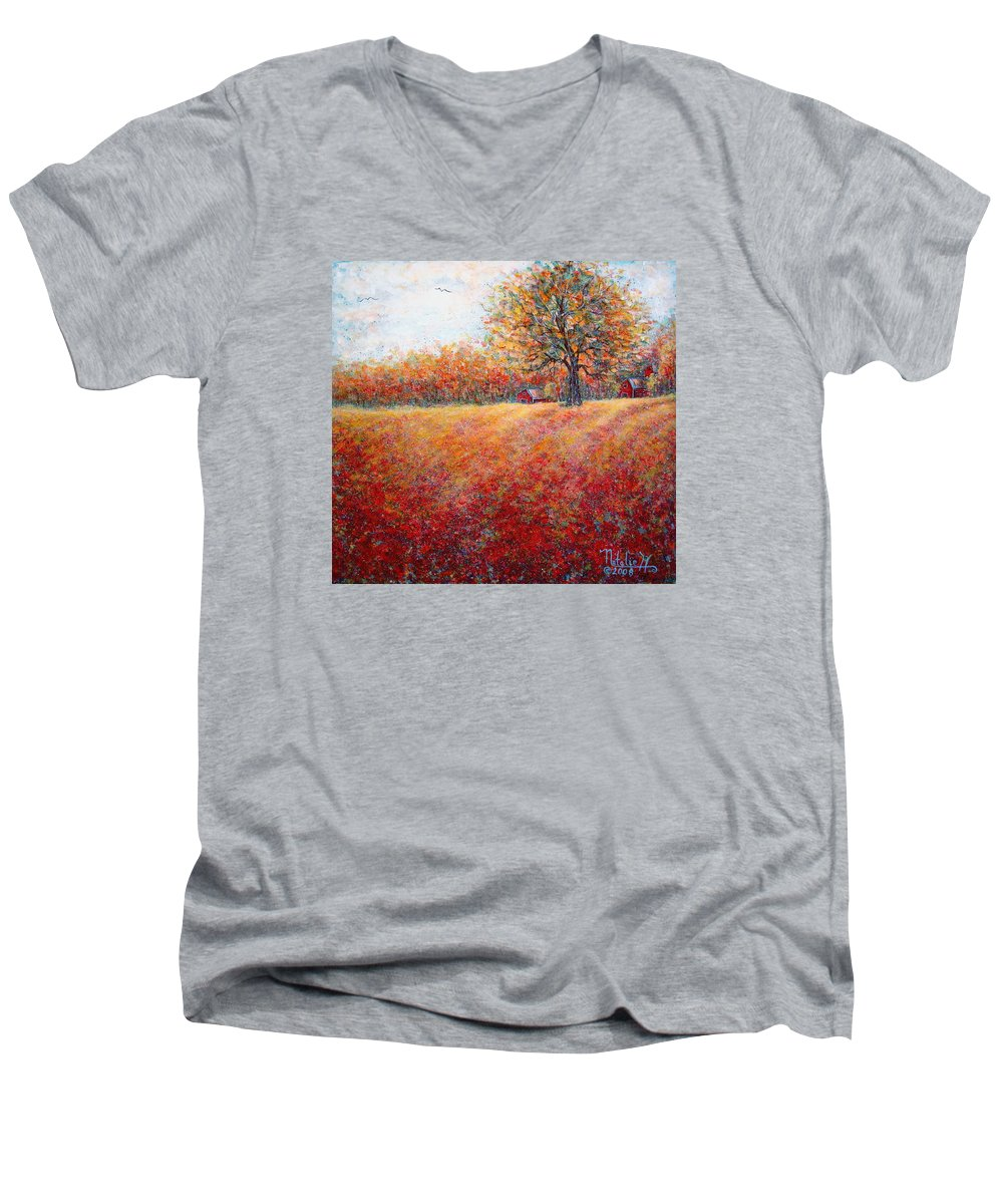 Autumn Landscape Men's V-Neck T-Shirt featuring the painting A Beautiful Autumn Day by Natalie Holland