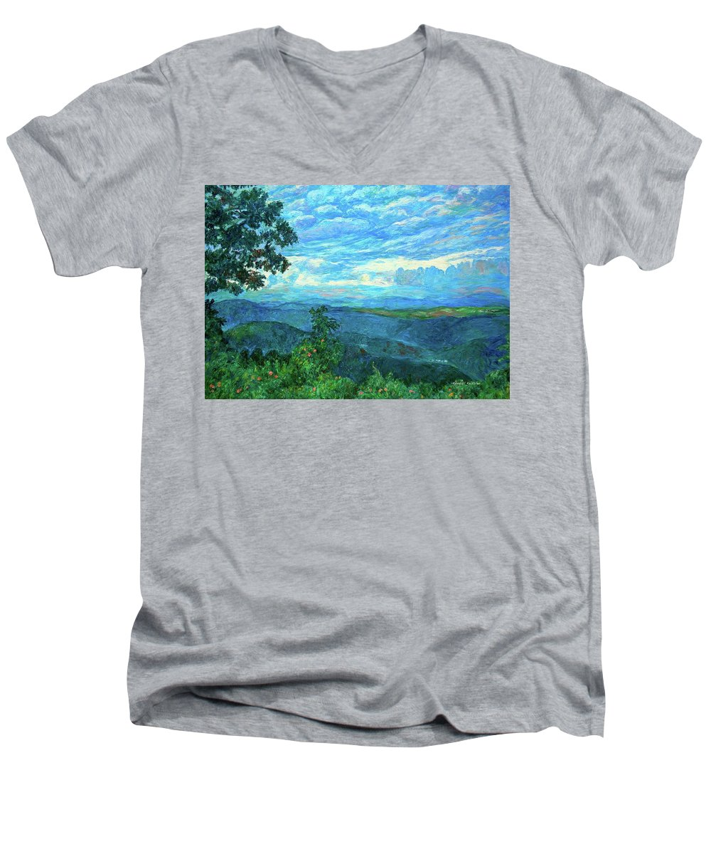 Mountains Men's V-Neck T-Shirt featuring the painting A Break In The Clouds by Kendall Kessler