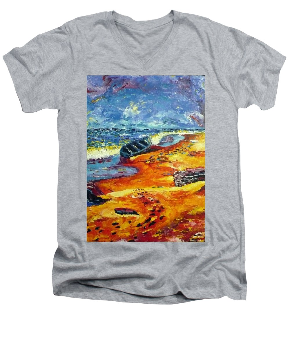 Landscape Men's V-Neck T-Shirt featuring the painting A Canoe At The Beach by Ericka Herazo