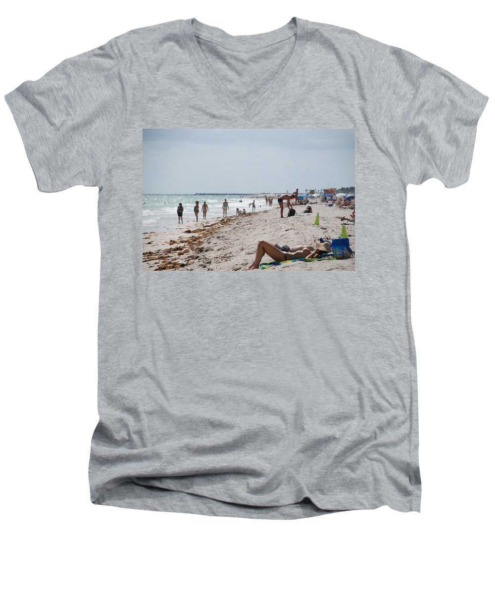 Nude Men's V-Neck T-Shirt featuring the photograph A Day At Paradise Beach by Rob Hans