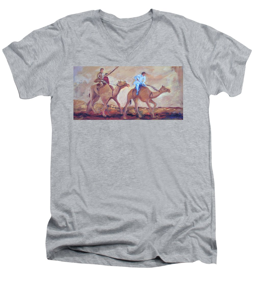 Figurative Men's V-Neck T-Shirt featuring the painting A Day At The Camel Races by Ginger Concepcion