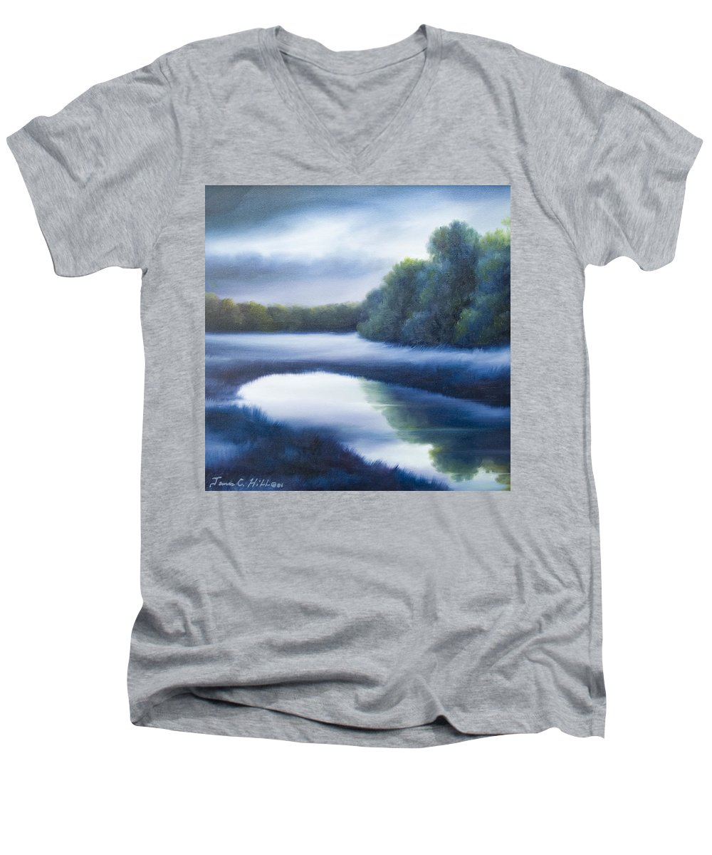 Nature; Lake; Sunset; Sunrise; Serene; Forest; Trees; Water; Ripples; Clearing; Lagoon; James Christopher Hill; Jameshillgallery.com; Foliage; Sky; Realism; Oils; Green; Tree; Blue; Pink; Pond; Lake Men's V-Neck T-Shirt featuring the painting A Day In The Life 4 by James Christopher Hill
