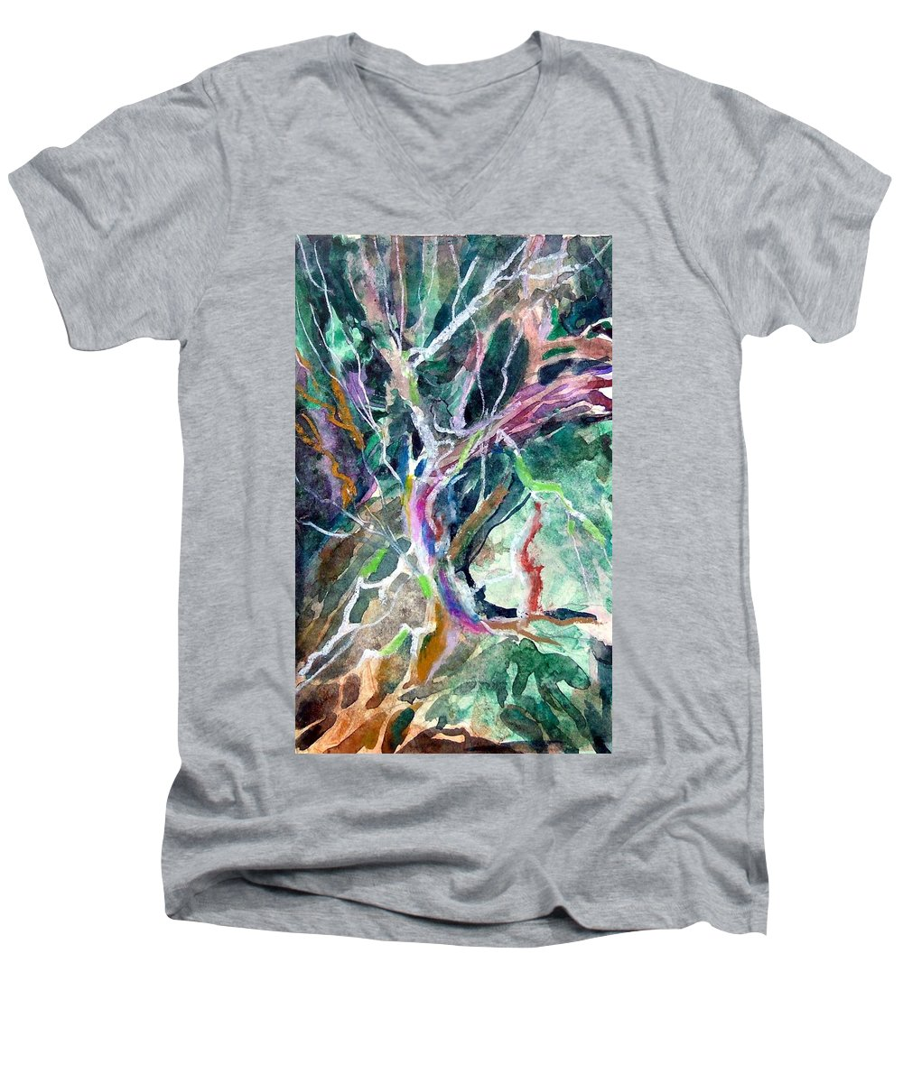 Tree Men's V-Neck T-Shirt featuring the painting A Dying Tree by Mindy Newman
