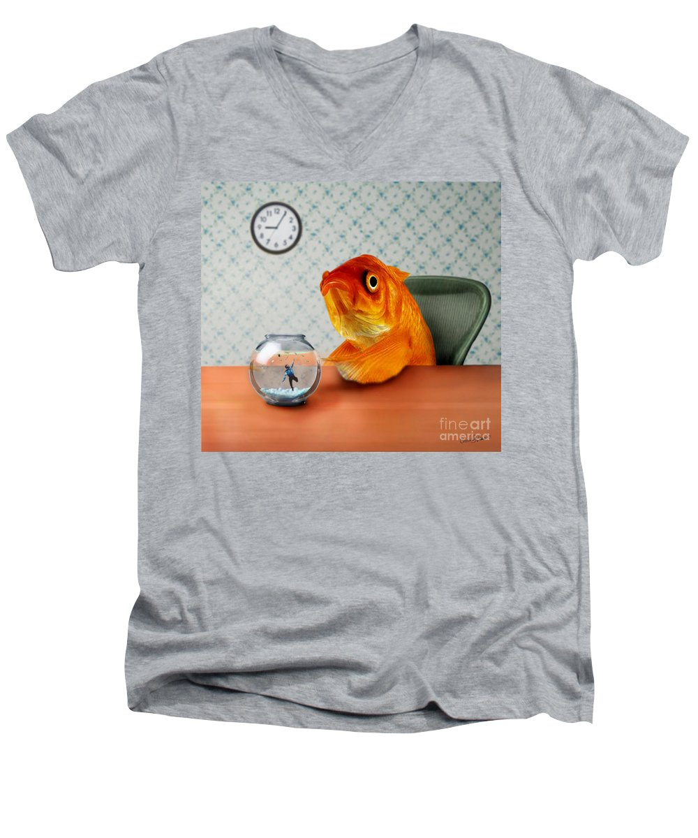 A Fish Out Of Water Men's V-Neck T-Shirt featuring the mixed media A Fish Out Of Water by Carrie Jackson