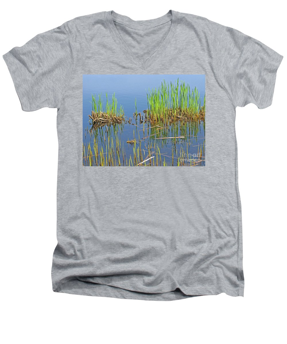 Spring Men's V-Neck T-Shirt featuring the photograph A Greening Marshland by Ann Horn