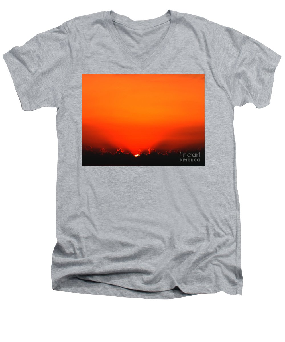 Sun Men's V-Neck T-Shirt featuring the photograph A New Day by Amanda Barcon