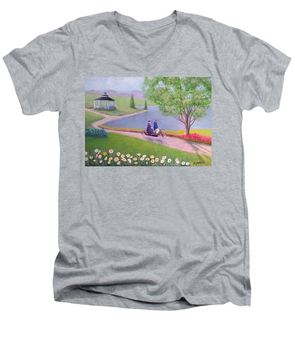 Landscape Men's V-Neck T-Shirt featuring the painting A Ride In The Park by William H RaVell III