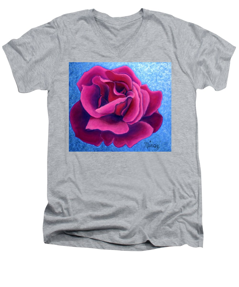 Rose. Pink Rose Men's V-Neck T-Shirt featuring the painting A Rose Is A Rose.. by Minaz Jantz