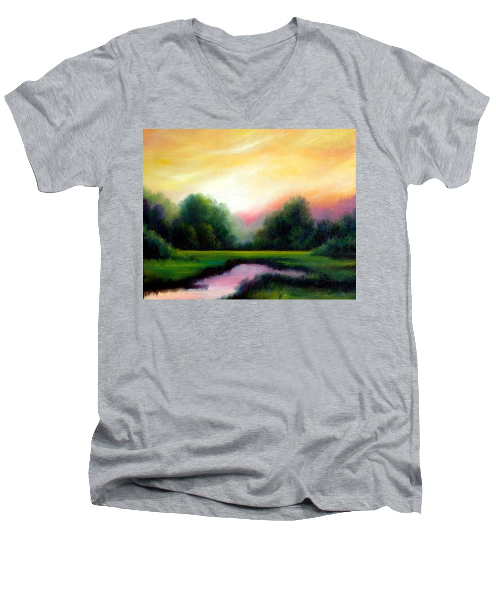 Clouds Men's V-Neck T-Shirt featuring the painting A Spring Evening by James Christopher Hill