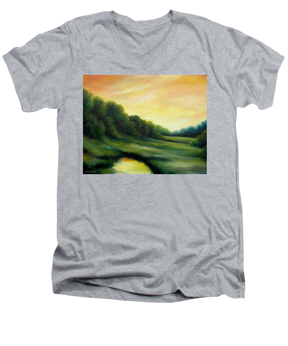Clouds Men's V-Neck T-Shirt featuring the painting A Spring Evening Part Two by James Christopher Hill