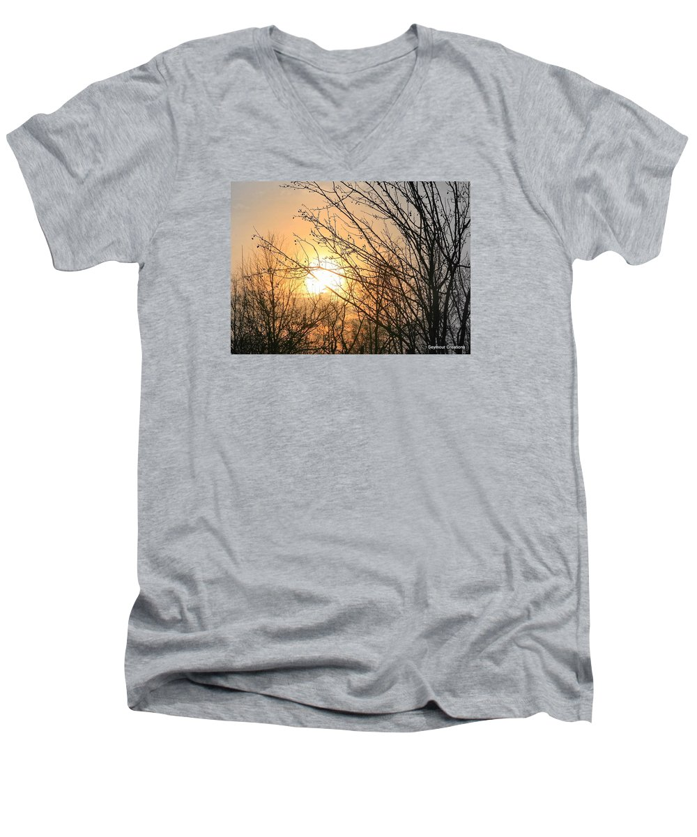 Sun Men's V-Neck T-Shirt featuring the photograph A Winter's Day After Glow by J R Seymour