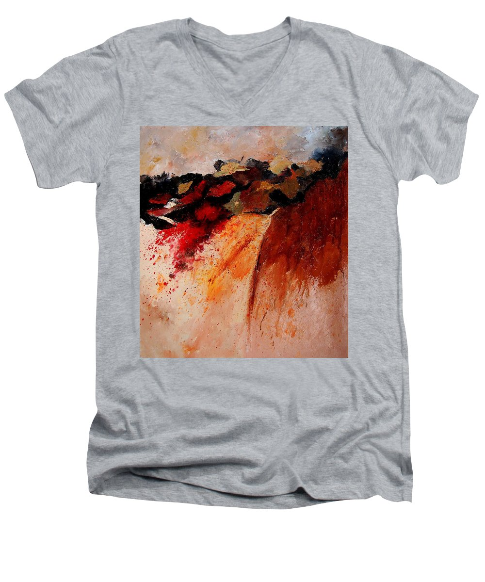 Abstract Men's V-Neck T-Shirt featuring the painting Abstract 010607 by Pol Ledent