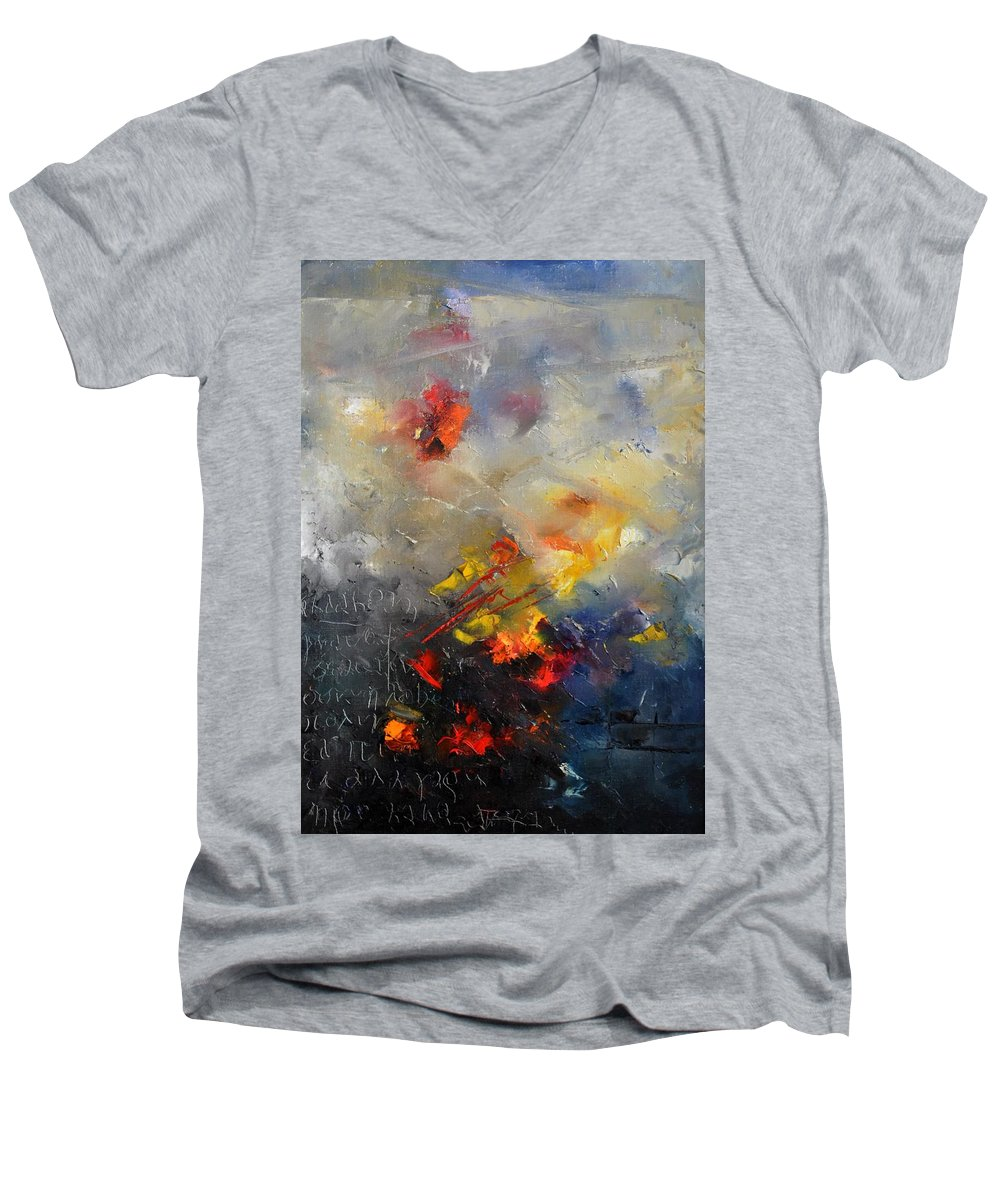 Abstract Men's V-Neck T-Shirt featuring the painting Abstract 0805 by Pol Ledent