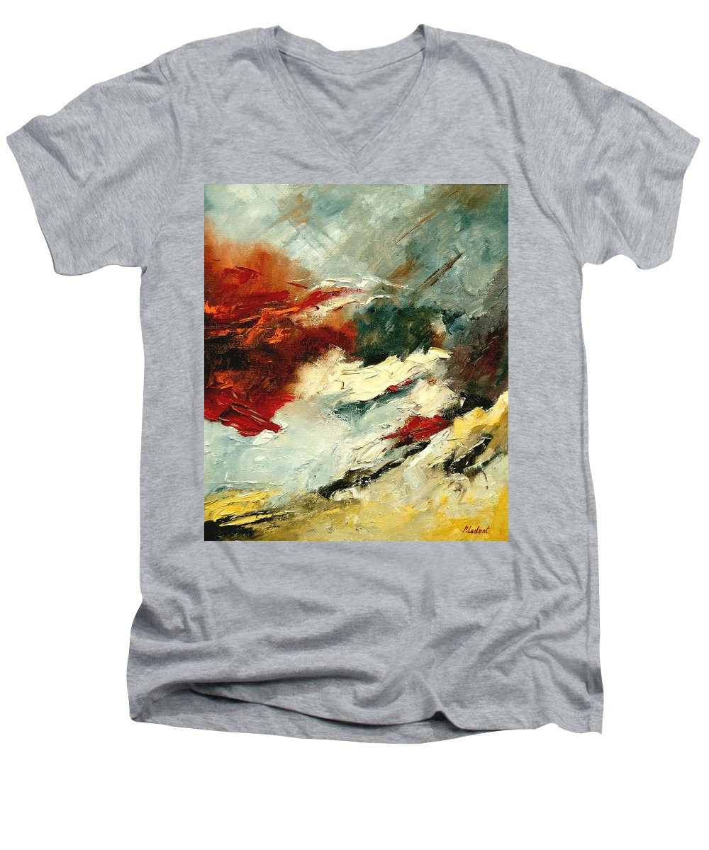 Abstract Men's V-Neck T-Shirt featuring the painting Abstract 9 by Pol Ledent