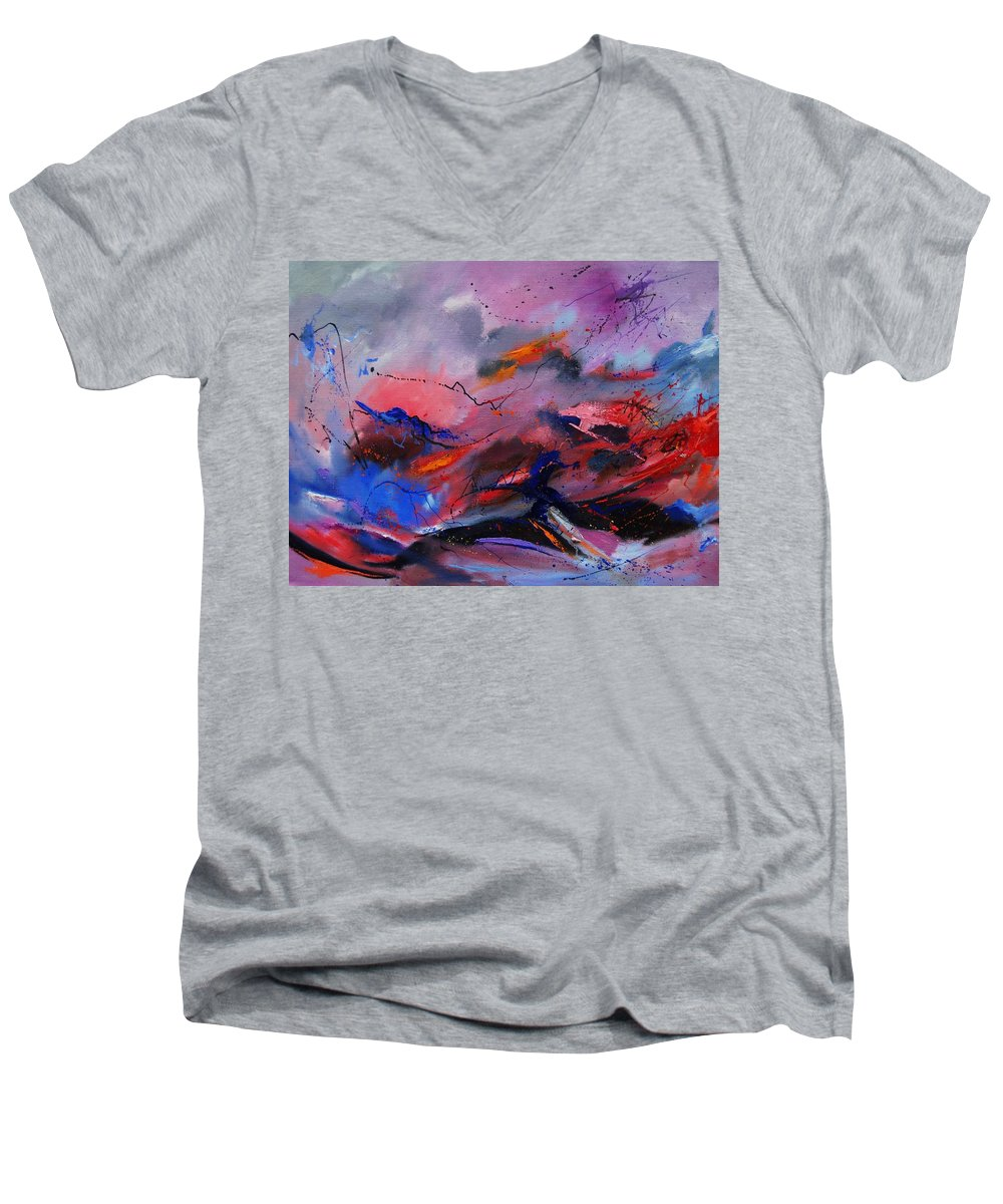 Abstract Men's V-Neck T-Shirt featuring the painting Abstract 971260 by Pol Ledent