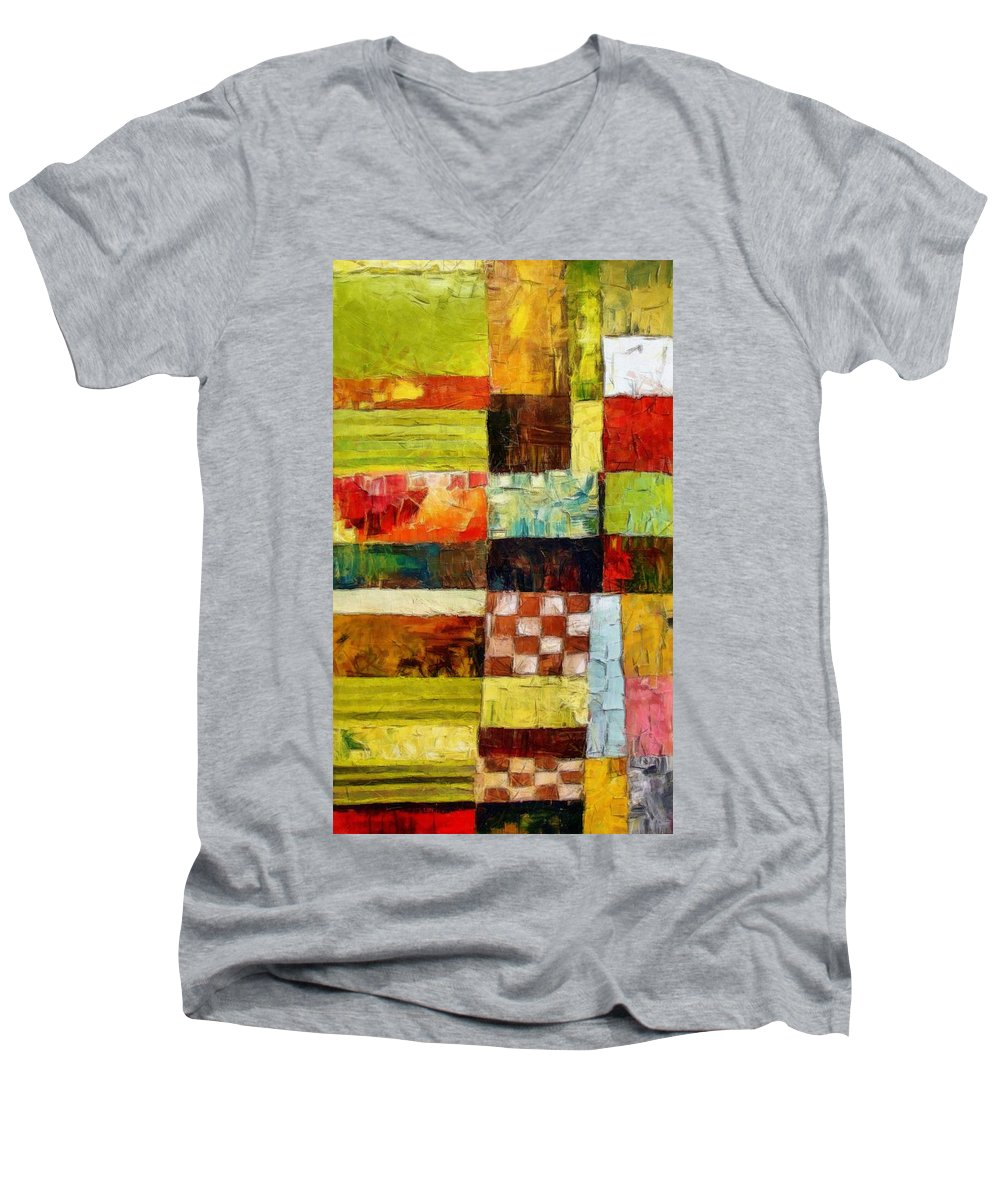 Patchwork Men's V-Neck T-Shirt featuring the painting Abstract Color Study With Checkerboard And Stripes by Michelle Calkins