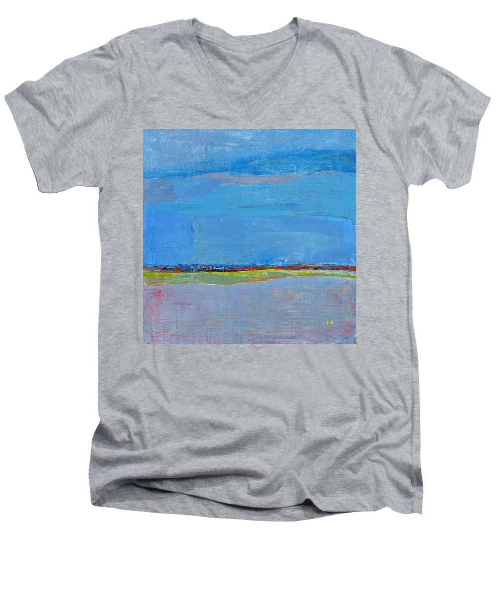Men's V-Neck T-Shirt featuring the painting Abstract Landscape1 by Habib Ayat