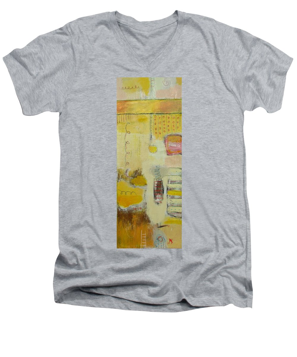 Abstract Men's V-Neck T-Shirt featuring the painting Abstract Life 1 by Habib Ayat