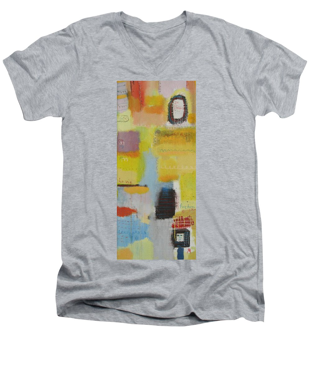 Abstract Men's V-Neck T-Shirt featuring the painting Abstract Life 3 by Habib Ayat
