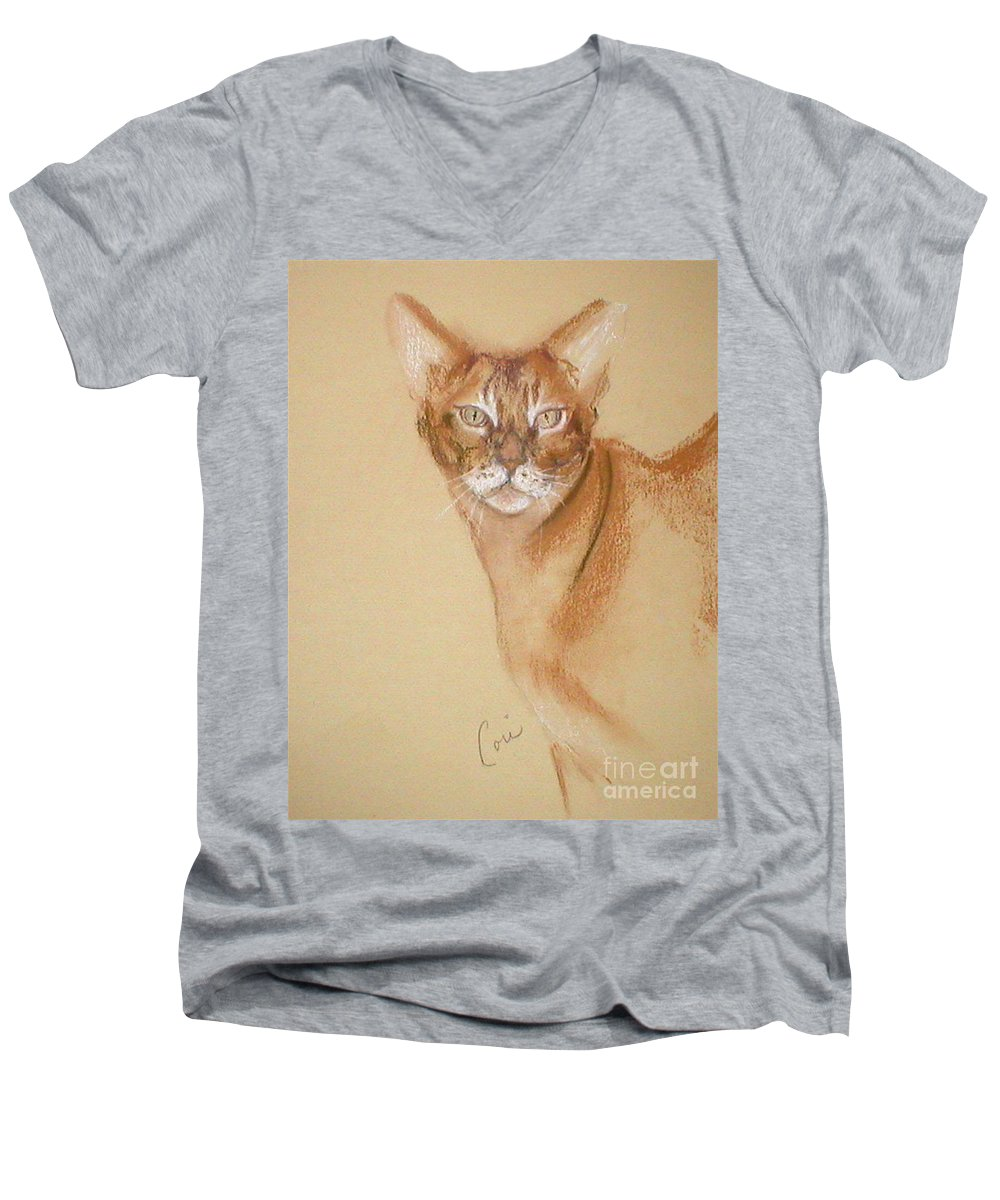 Pastel Men's V-Neck T-Shirt featuring the drawing Abyssinian by Cori Solomon
