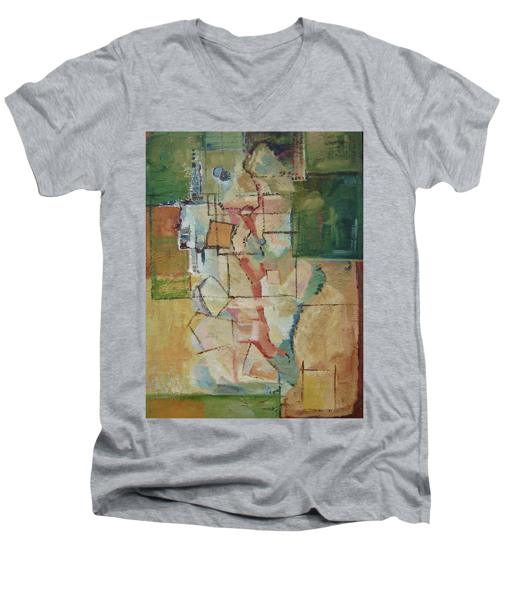 Abstract Art Men's V-Neck T-Shirt featuring the painting Aerial by Ginger Concepcion