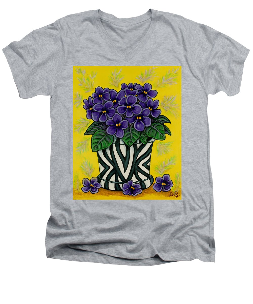 Violets Men's V-Neck T-Shirt featuring the painting African Queen by Lisa Lorenz