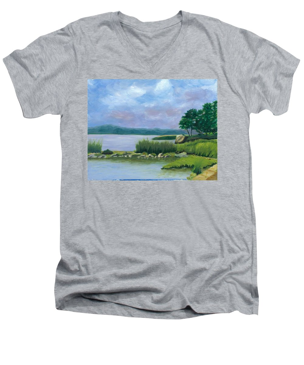 Seascape Men's V-Neck T-Shirt featuring the painting Afternoon At Pilgrim by Paula Emery