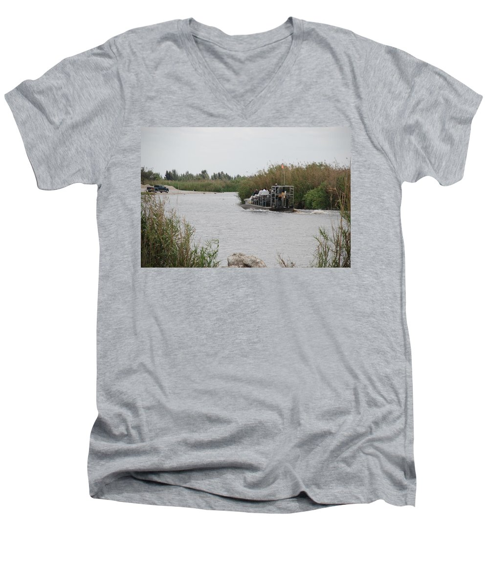 Everglades Men's V-Neck T-Shirt featuring the photograph Airboat Rides 25 Cents by Rob Hans
