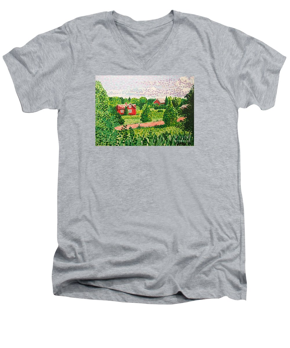 Aland Men's V-Neck T-Shirt featuring the painting Aland Landscape by Alan Hogan