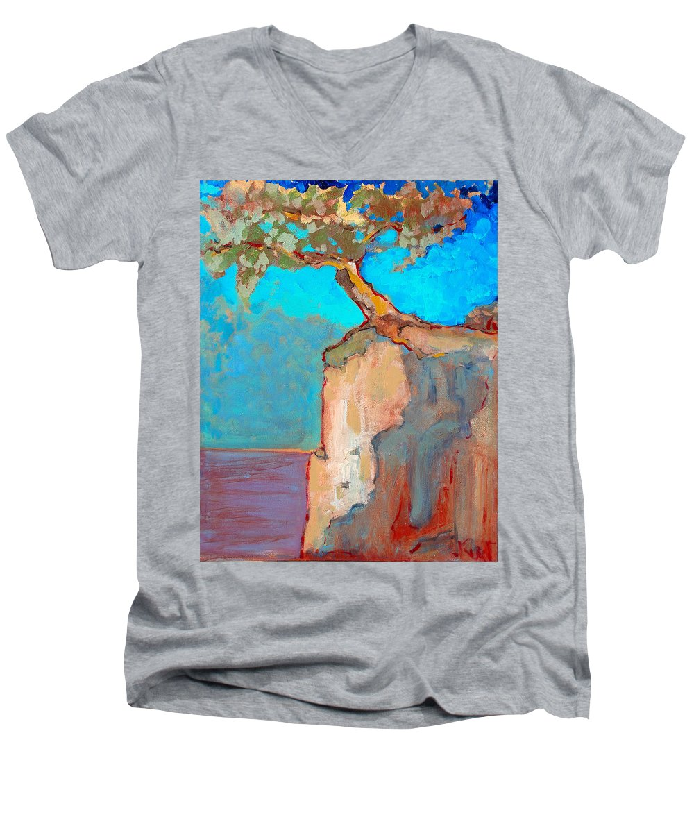 Tree Men's V-Neck T-Shirt featuring the painting Albero by Kurt Hausmann