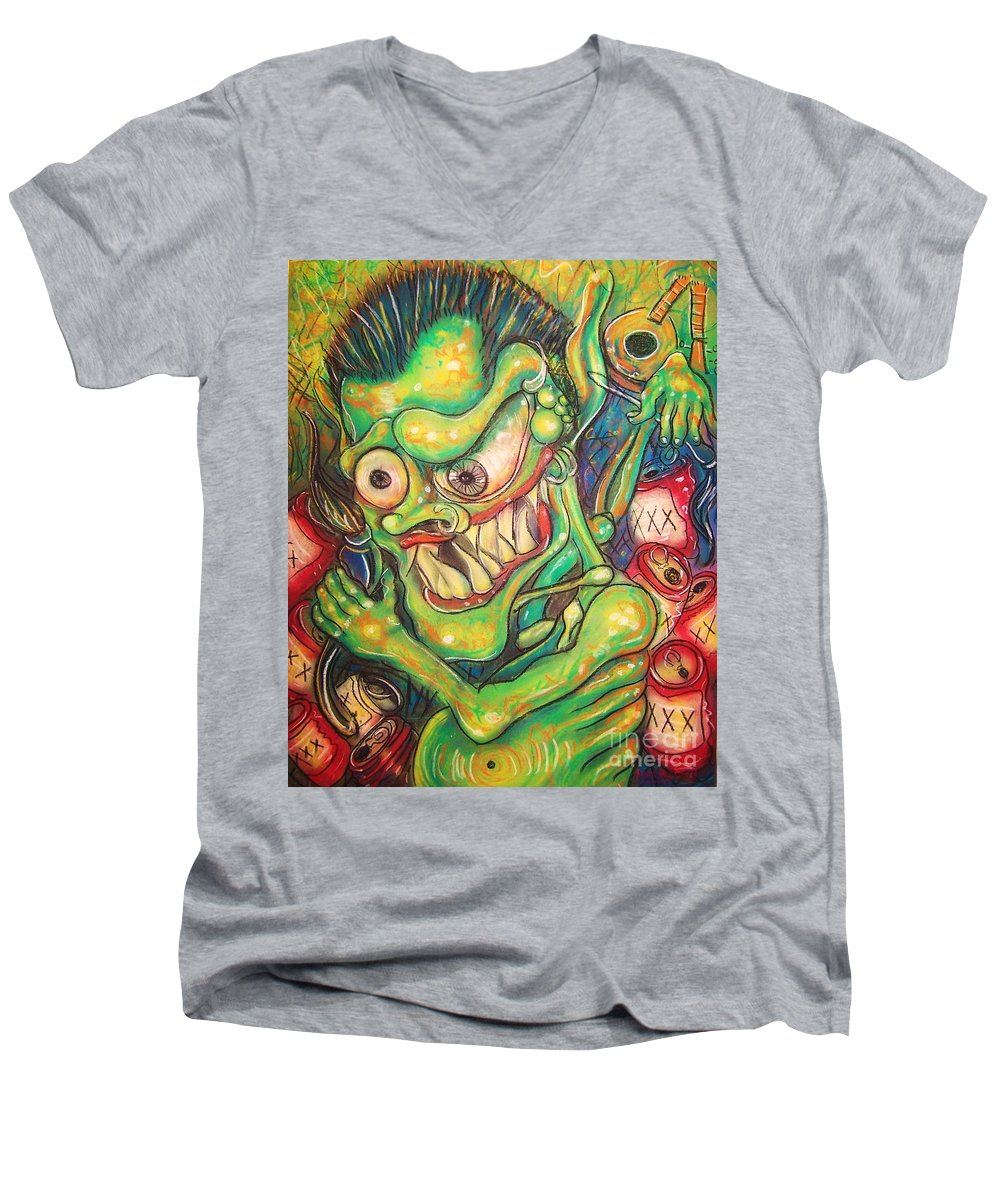 Beer Men's V-Neck T-Shirt featuring the painting Alcoholic Demon by Americo Salazar