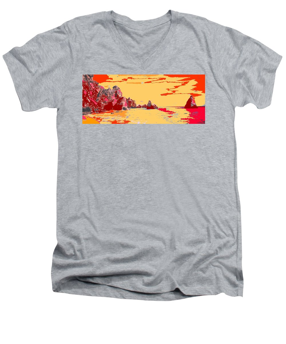 Mediterranean Men's V-Neck T-Shirt featuring the photograph Algarve Sunrise by Ian MacDonald