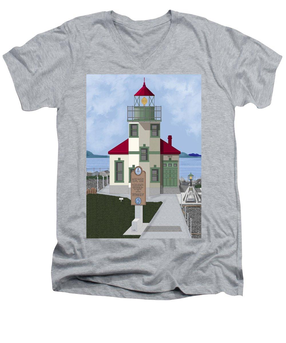 Lighthouse Men's V-Neck T-Shirt featuring the painting Alki Point On Elliott Bay by Anne Norskog