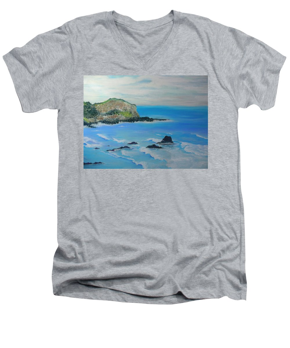 Hawaii Men's V-Neck T-Shirt featuring the painting Aloha by Melinda Etzold