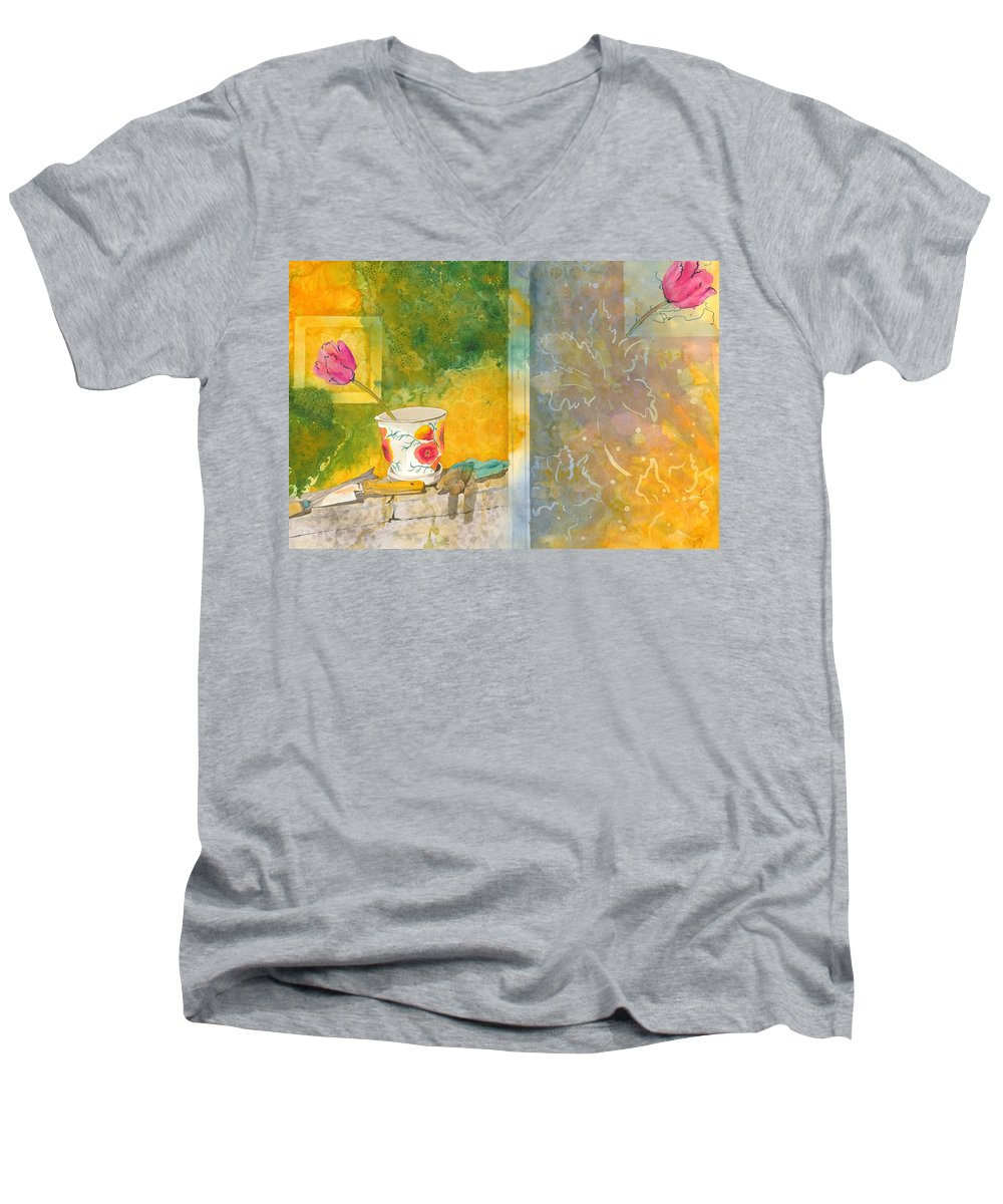 Garden Men's V-Neck T-Shirt featuring the painting Along The Garden Wall by Jean Blackmer