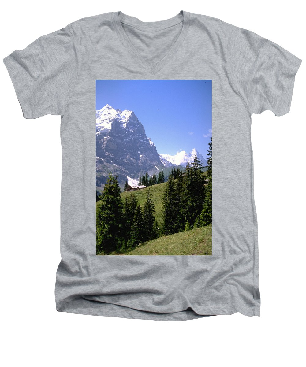 Alps Men's V-Neck T-Shirt featuring the photograph Alps by Flavia Westerwelle