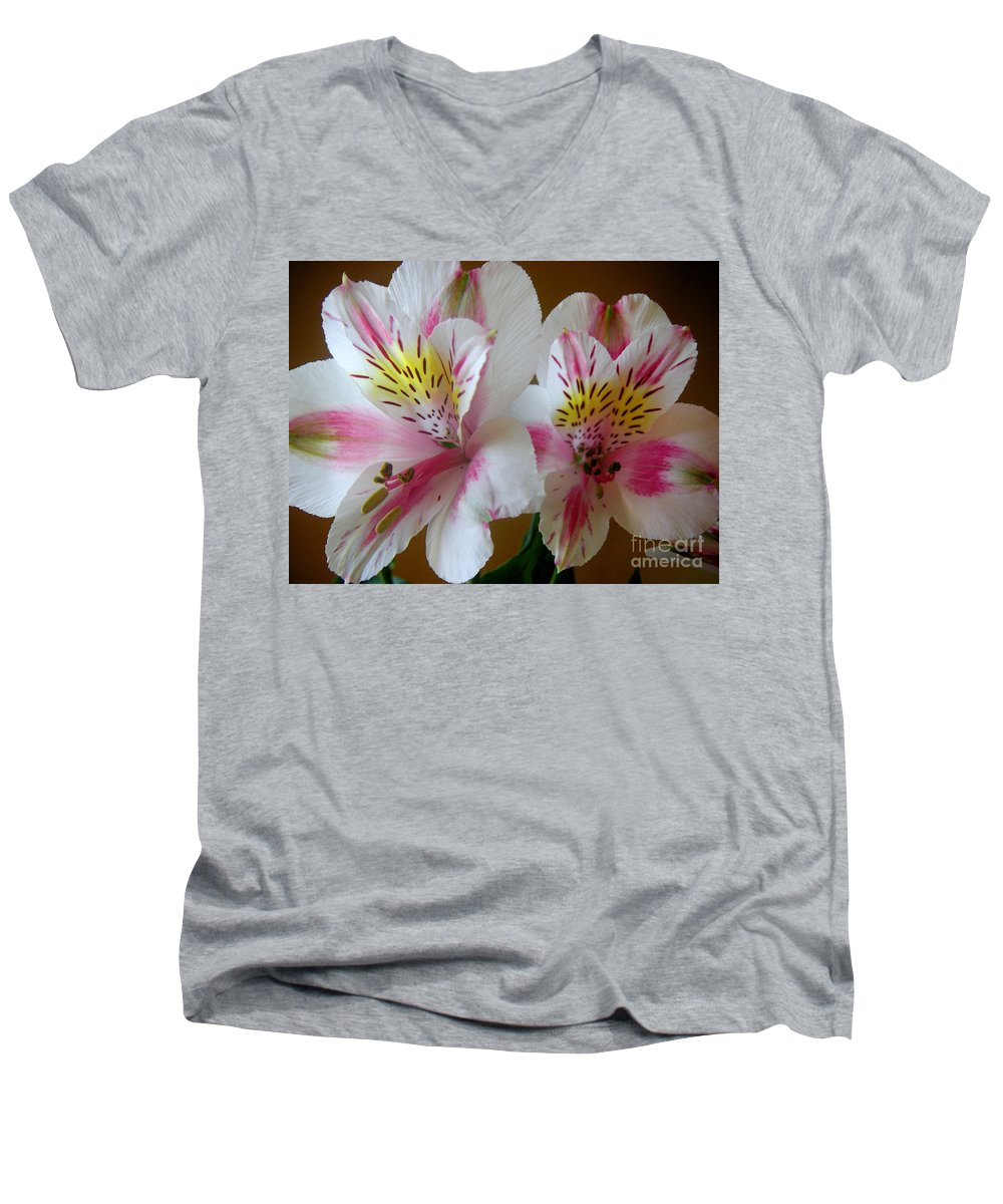 Nature Men's V-Neck T-Shirt featuring the photograph Alstroemerias - Heralding by Lucyna A M Green